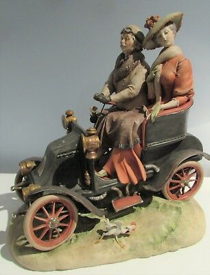 Large Capodimonte Couple in Vintage Car Figure by Guiseppe Cappe - Dated 1958