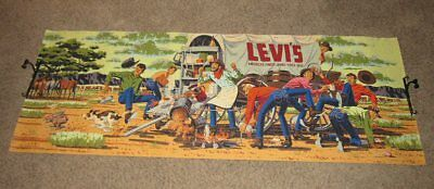 "RARE 1950's LEVI'S Jeans Banner Poster Sign Cowboy Chuck Wagon 34"" by 8 Feet"