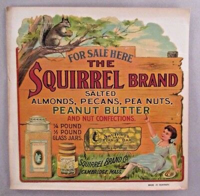 Squirrel Brand WINDOW SIGN - circa 1900 ~~ peanut butter, nut candy bar, peanuts