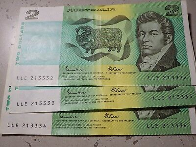 Australia $2 Notes Consecutive Numbers