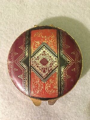"""Stunning 3"""" Vintage Mid-Century Leather & Brass Mirror Powder Snap Compact A. M."""