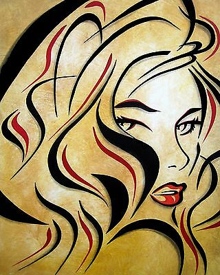 Abstract painting LOVE pop Modern Faces Original Canvas Wall Art by Fidostudio