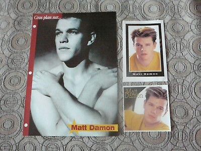 MATT DAMON PIN UP POSTER PHOTO AFFICHE 7.5 x 10.5 + 2 CARDS CLIPPINGS