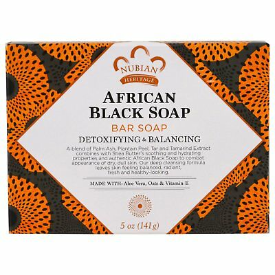 Nubian Heritage African Black Soap Bar Fights Acne Eczema Psoriasis Oily Skin