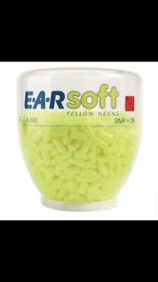 3M E-A-Rsoft PD-01-002 Yellow Neon Earplugs Refill One Touch Dispenser 500 Pairs