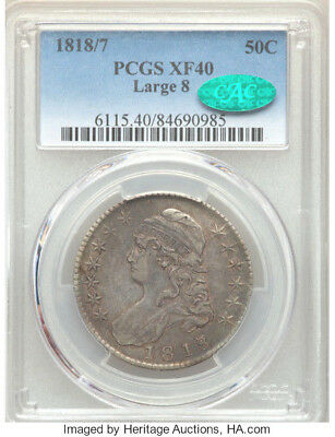 1818/7 Large 8 ERROR * PCGS XF40 * CAC * Silver CAPPED BUST Half Dollar 50c $625