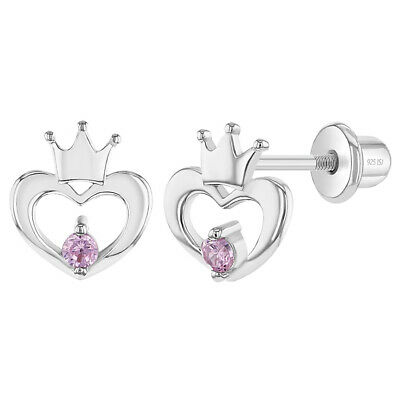 925 Sterling Silver Pink Cz Open Heart Crown Back Earrings For Toddlers