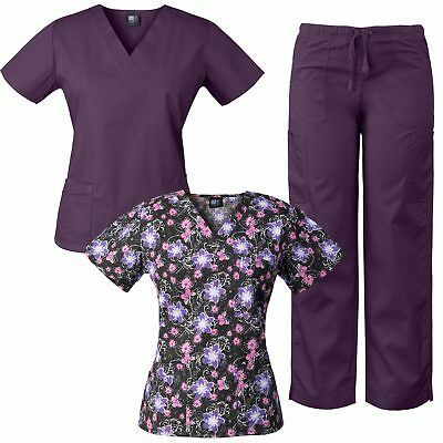 MedGear 3-Piece Combo, Eversoft Scrubs Set with Printed Scrubs Top 7891NW