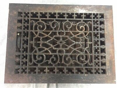 Antique Cast Iron Heat Grate Floor Vent Register Vtg Victorian Old 9x13 07-17B