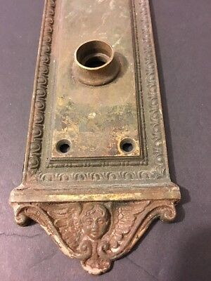 Antique Victorian Eastlake Dolphin Winged Angel Cherub Bronze Door Push Plate