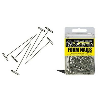 "Woodland Scenics ST1432 Foam Nails, 2"" (75 nails) Pin Track, Foam etc. to Layout"
