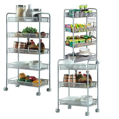 3 4 5 Layer Rack Shelf Shelving Rolling Kitchen Pantry Storage Utility Cart Us