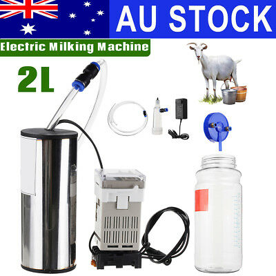 AU 2L Electric Milking Machine Sheep Goat Cow Milk Bucket Milker Vacuum Pump