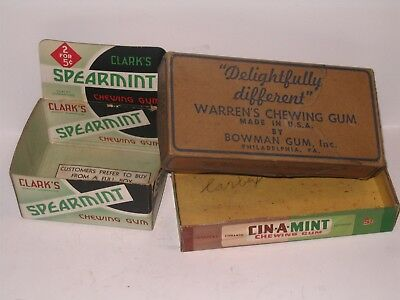 Clarks Spearmint Chewing Gum & Warrens CinA Mint Chewing Gum Store Display Boxes