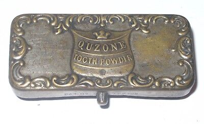 Quzone Tooth Powder EARLY Unusual Tin Holder or Applicator Patented Contraption