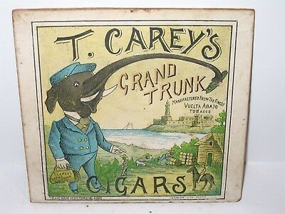 T Carey's Grand Trunk Cigars Pc Elephant EARLY Paper Label on Box Lid Small Sign