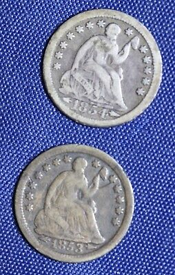 1853 O and 1854  Seated Liberty Half Dimes