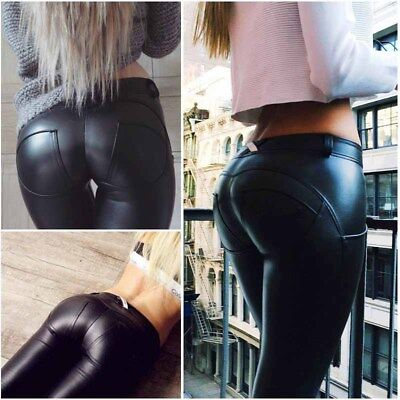 Sexy Women Faux Leather Pants Footless Seamless Leggings Capris Fashion New