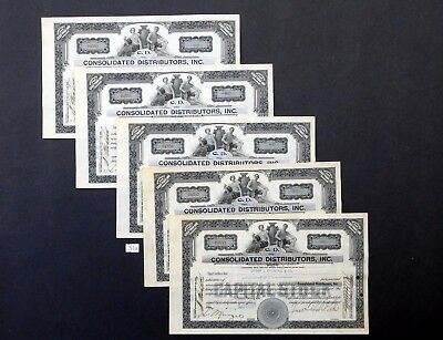 F51a Consolidated Distributors Inc., stock certificates, Lot of 5