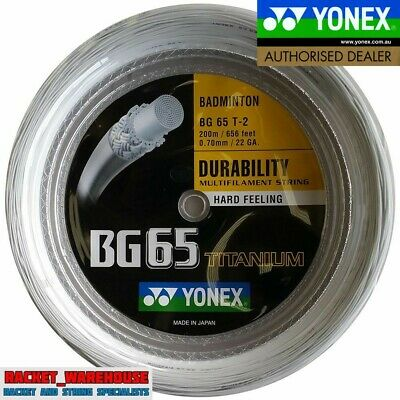 YONEX BG65Ti 200M COIL BADMINTON RACKET STRING WHITE COLOUR