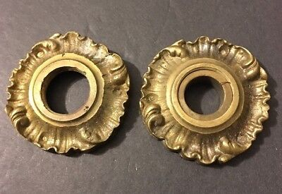Antique Pair Cast Brass Victorian Eastlake Knob Holders Plates Ornate Wave Italy