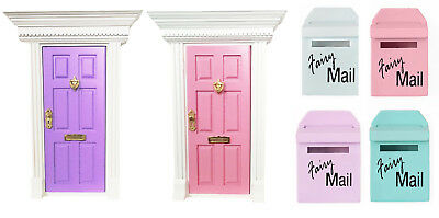 Fairy Door Set Letterbox Doll House Miniature Wood Fairy House Mail Opening