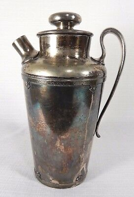 Vintage Silver Plate Wilcox Cocktail Martini Shaker 1930 Not Polished No Stopper