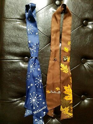 McDonald's Managers Tie  Fall Leaves  And winter and 2 pins