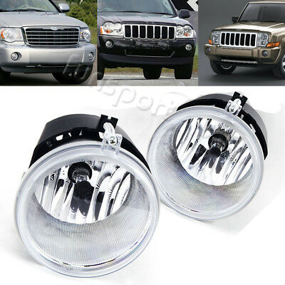 for 05-10 Jeep Grand Cherokee/06-10 Commander Clear Bumper Fog Light Lamps+Bulbs