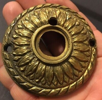 Antique Cast Brass Victorian Eastlake Knob Plate Ornate Sunflower