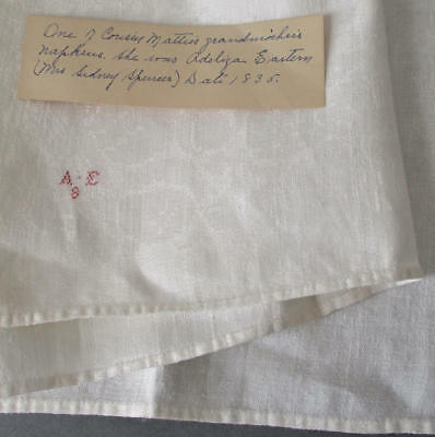"Antique c1835 Linen 33"" Napkin Cross Stitched RED Monogram + 2 Estate Pieces"