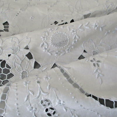 "Vintage Italian LINEN + Lace Tablecloth Hand Embroidery CUTWORK Mosaic 96"" X 76"""