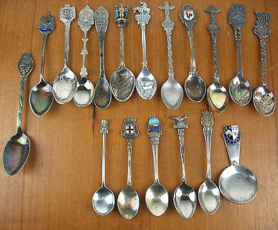 18 x Silverplate Souvenir Collector Spoons epns Travel & Christmas some Enamel