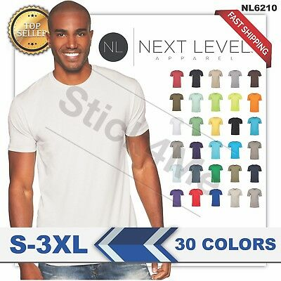 NEW MAN'S BLANK T-SHIRT Premium Fitted Cotton Shirt Next Level NL6210