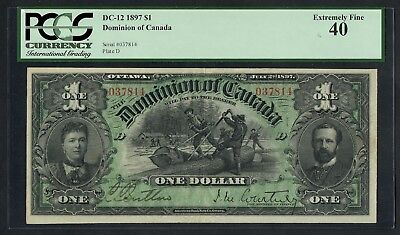 Canada #dc-12 $1 1897 Pmg 40 Xf+ Ext Rare (Only 8 Notes Exist Xf To Au) Wlm4658
