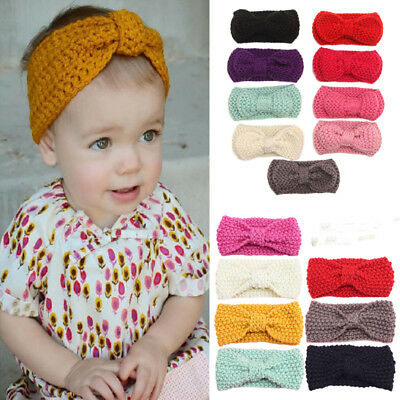 Newborn Baby Kids Girls Knitted Turband Headband Hair Band Winter Ear Hair Warm