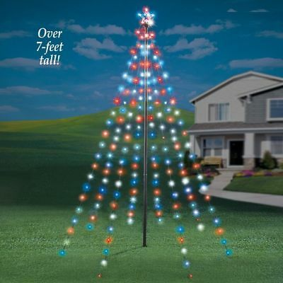 Christmas Outdoor 7 Ft. Tall String Light Garden Tree with Star
