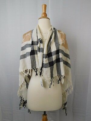 Collection XIIX Stars and Stripes Square Printed Tassel Scarf Neutral #5758