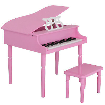 30 Keys Kids Pink Grand Piano with Matching Bench Music Chords Guide for Kids