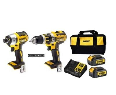 Dewalt 18v Brushless Combi Drill And Impact Driver Kit With 2 X 3.0Ah Batteries