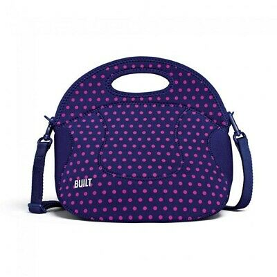 BUILT NY Spicy Relish Lunch Tote Insulated Neoprene Mini Dot Navy