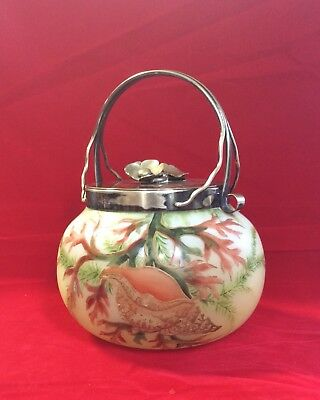 Antique Glass Hand-Painted Biscuit Barrel H & H Eagle Hallmark Seashell Coral