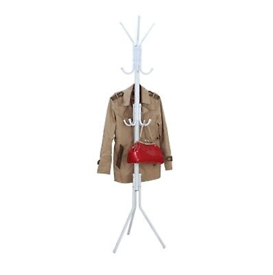 1X Normal Duty Multi Hook Clothes Coat Hat Stand Rack - White
