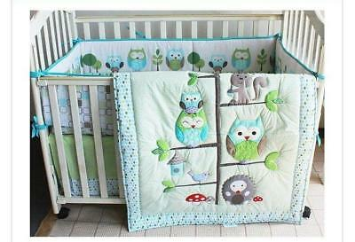 7 Pieces Adorable Owl design Baby Boy Crib Cot Bedding Quilt Set Bedding gifts