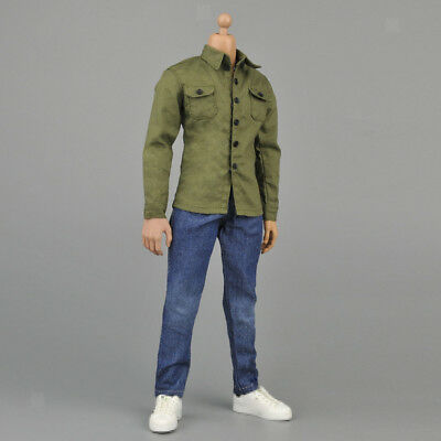 1/6 Action Figure Accessories Army Green Shirt Jeans Clothing for Hot Toys