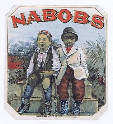 Nabobs, original outer cigar box label, boys, wrightsville PA