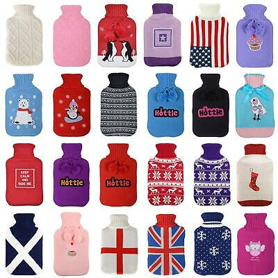 Large Hot Water Bottle With Knited Cover Assorted Styles Heat Therapy Gift 2L