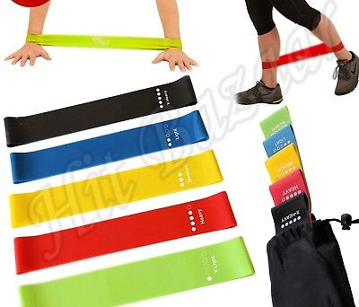 RESISTANCE BANDS SET LOOP Exercise Yoga Training 5pc Elastic Fitness Gym Workout