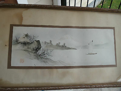 Antique Unsearched Watercolor Japan Japanese Mountain,boats Fisherman Signed