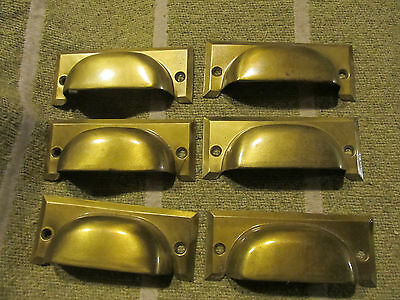 6 vintage drawer pulls bin polished steel dull Brass  nos cup office MADE IN USA